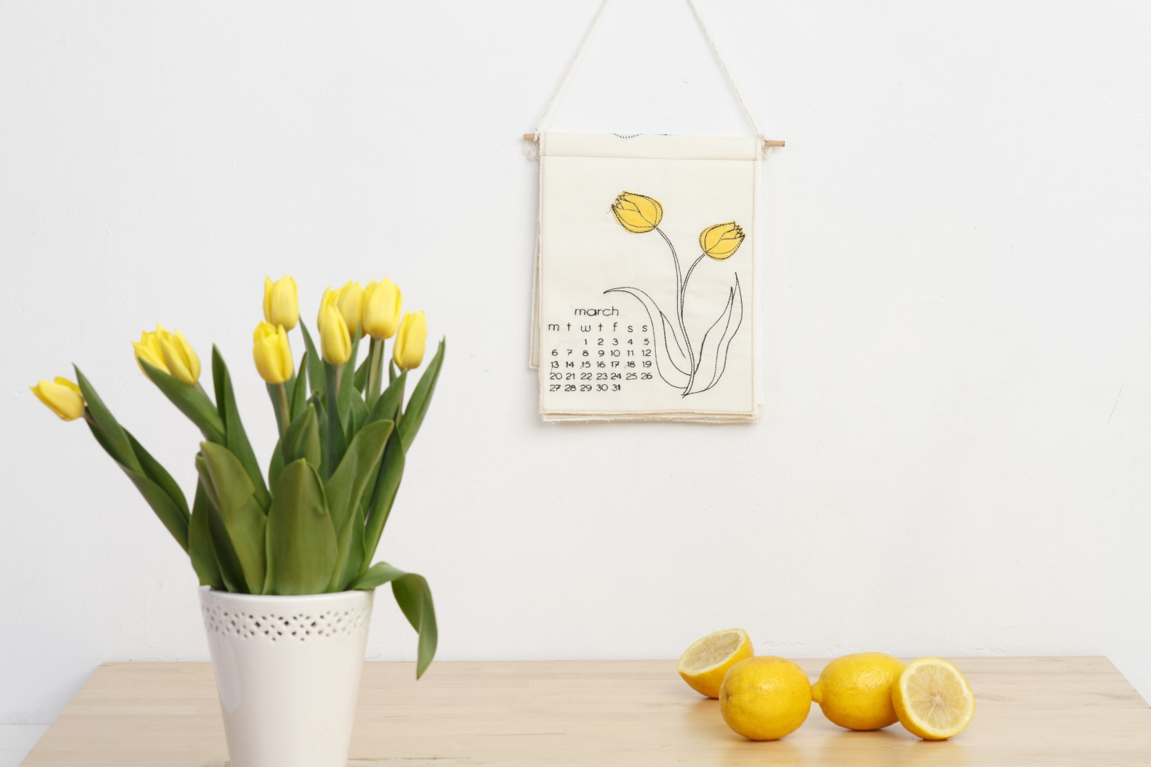 embroidered calendar